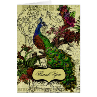 Vintage Peacock Wedding Thank You Note Cards