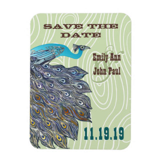 Vintage Peacock Woodgrain Save the Date Magnet