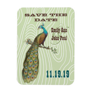 Vintage Peacock Woodgrain Save the Date Magnets