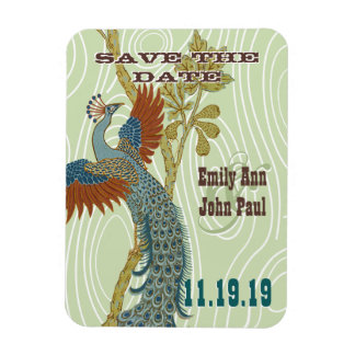 Vintage Peacock Woodgrain Save the Date Rectangle Magnets