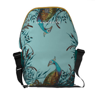 Vintage Peacock You Choose Colors Courier Bag