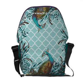 Vintage Peacock You Choose Colors Messenger Bag