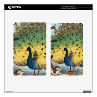 Vintage peacocks and a cat kindle fire skin