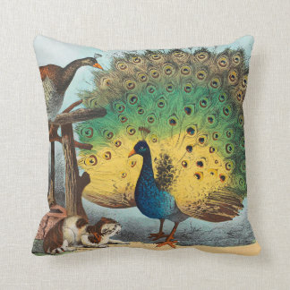Vintage peacocks and a cat throw pillow