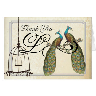 Vintage  Peacocks Bird Cage Wedding Invitations