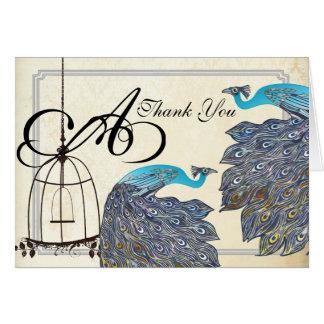 Vintage  Peacocks Bird Cage Wedding Invitations Stationery Note Card