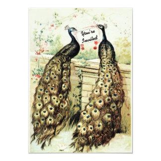 Vintage Peacocks Bridal Tea Personalized Invitations