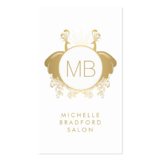 Vintage Peacocks Decorative Monogram Hair Salon II Double-Sided Standard Business Cards (Pack Of 100)