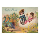 Vintage Peacocks & Egg Carriage Easter Party Personalized Invite