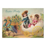 "Vintage Peacocks & Egg Carriage Easter Party 5"" X 7"" Invitation Card"