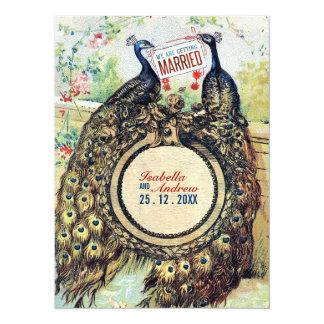 Vintage Peacocks in A Romantic Garden Card
