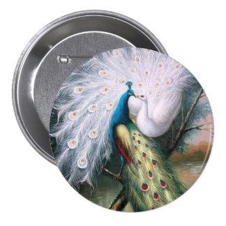 Vintage Peacocks Kiss Pinback Button
