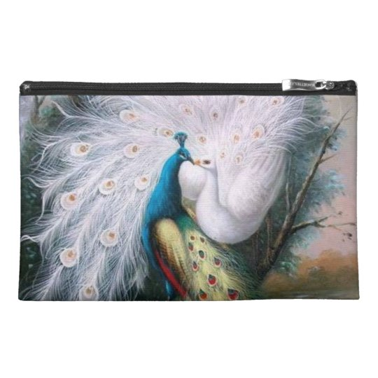 Vintage Peacocks Kiss Travel Accessory Bag