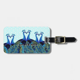 Vintage Peacocks Kissing Wedding Gifts Bag Tag