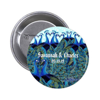 Vintage Peacocks Kissing Wedding Gifts Button