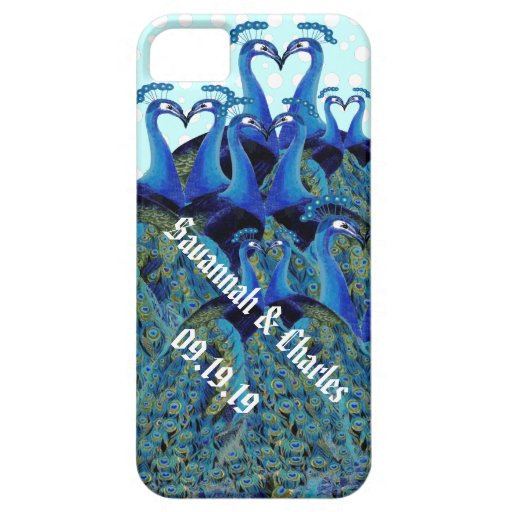 Vintage Peacocks Kissing Wedding Gifts iPhone 5 Case