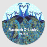 """Vintage Peacocks Kissing Wedding Gifts Classic Round Sticker<br><div class=""""desc"""">Vintage Peacocks Kissing Wedding Gifts</div>"""