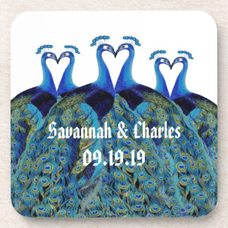 Vintage Peacocks Kissing Wedding Gifts Drink Coaster