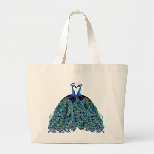 Zazzle Wedding Gift Bags : Vintage Peacocks Kissing Wedding Gifts Large Tote Bag Zazzle