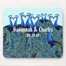 Vintage Peacocks Kissing Wedding Gifts Mouse Pad