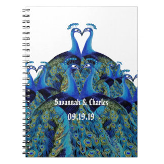 Vintage Peacocks Kissing Wedding Gifts Notebook