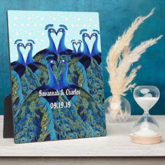 Vintage Peacocks Kissing Wedding Gifts Plaque