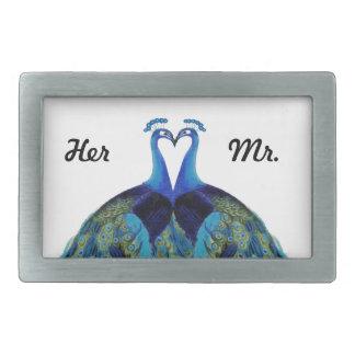 Vintage Peacocks Kissing Wedding Her Mr. Gifts Rectangular Belt Buckle