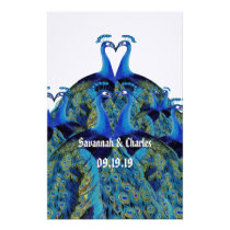 Vintage Peacocks Kissing Wedding Stationery