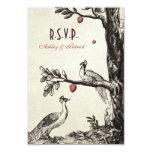 """Vintage Peacocks on Love Tree 3.5"""" X 5"""" Invitation Card"""