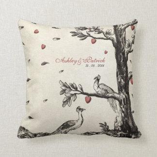 Vintage Peacocks on Love Tree Throw Pillow