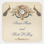 Vintage Peacocks Wedding Favour Stickers Names