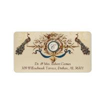 Vintage Peacocks Wedding Return Address Labels