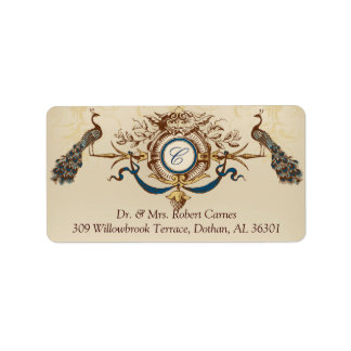 Vintage Peacocks Wedding Return Address Labels