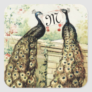 Vintage Peacocks with Initial Square Sticker