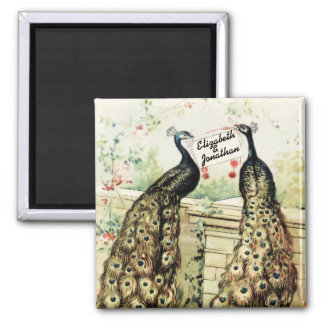 Vintage Peacocks with Names Magnet