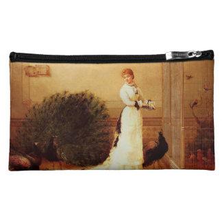 Vintage Peacocks & Woman Cosmetic Bag