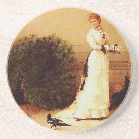 Vintage Peacocks & Woman Coaster