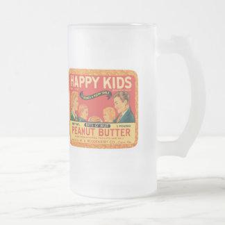 Vintage Peanut Butter Food Product Label Frosted Glass Beer Mug