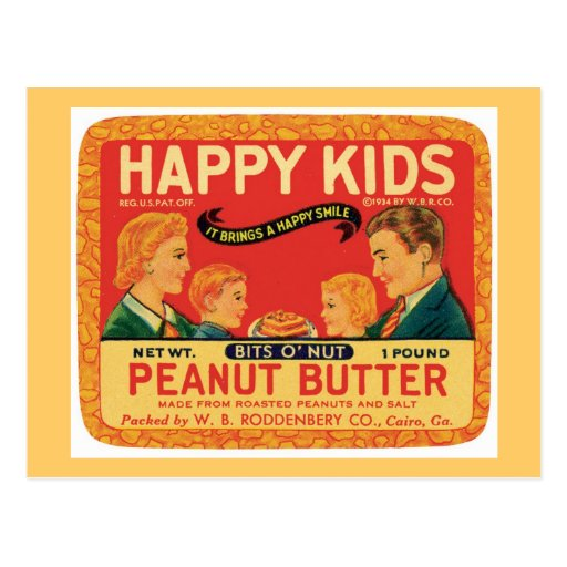 Vintage Peanut Butter Food Product Label Post Cards