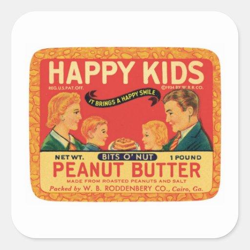 Vintage Peanut Butter Food Product Label Square Sticker