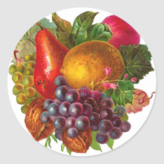 Vintage Pear, Grape, Lemon, Apple, and Walnuts Classic Round Sticker