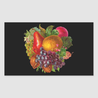 Vintage Pear, Grape, Lemon, Apple, and Walnuts Rectangular Sticker