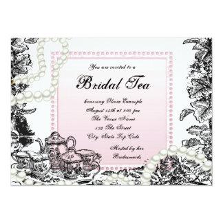 Vintage Pearls and Pink Bridal Tea 5.5x7.5 Paper Invitation Card