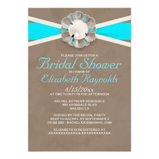 Personalized pearls bridal shower invitations for Classic bridal shower invitations