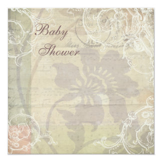 Vintage Pearls & Lace Floral Collage Baby Shower Card