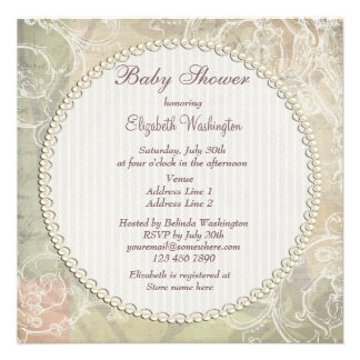 Vintage Pearls & Lace Floral Collage Baby Shower Announcement