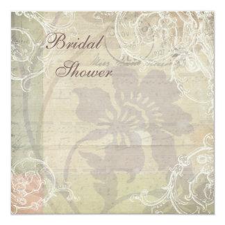 Vintage Pearls & Lace Floral Collage Bridal Shower Card