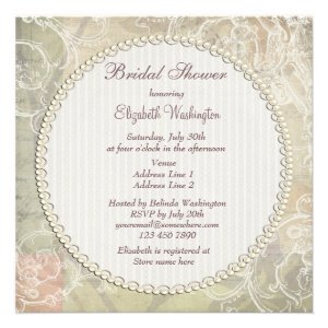 Vintage Pearls & Lace Floral Collage Bridal Shower Invites