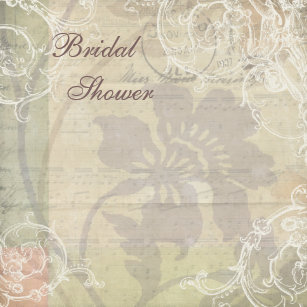 vintage pearls lace floral collage bridal shower invitation
