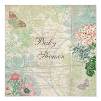 "Vintage Pearls & Lace Shabby Chic Baby Shower 5.25"" Square Invitation Card"